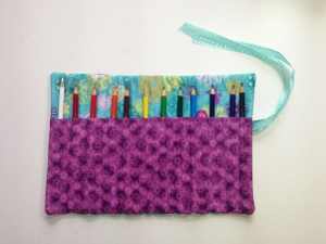 Purple and Teal Pencil Roll