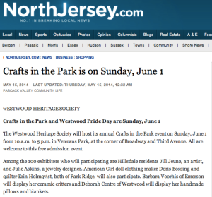 Crafts in the Park article on NorthJersey.com