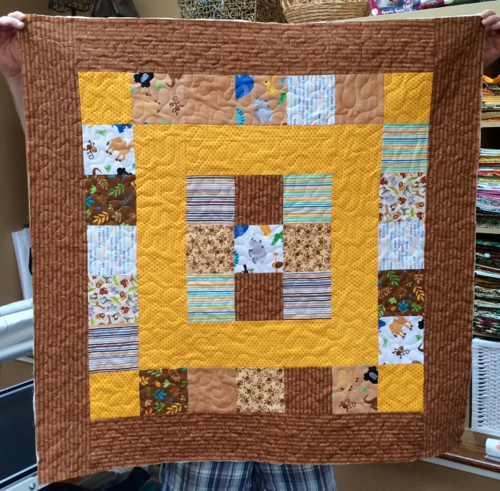 Zoofari Baby Quilt - Tan and Orange Colorway